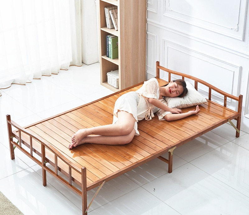 Bed เตียงนอนพับได้ เตียงไม้ไผ่ 3.9ft 121x92x17cm ST20035-3