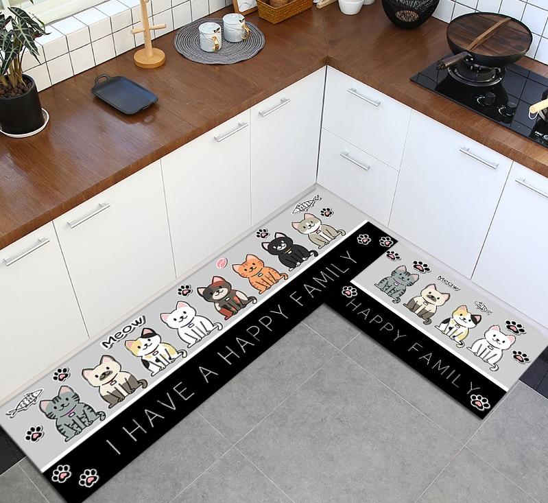 Cartoon carpet พรมปูพื้นกันลื่น ลายแมว ขนาด 40x120cm JR0420-15