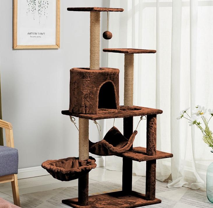 Cat Tree คอนโดแมว สีกาแฟ 38x85x130cm PT618-3