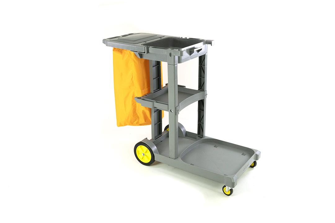 Cleaning cart รถเข็นแม่บ้านสีเทา แบบ 3 ชั้นวางพร้อมถังขยะ รุ่นD-11-1G