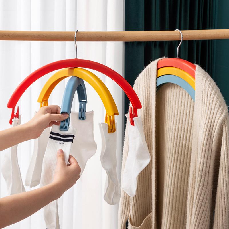 Clothes hanger ไม้แขวนตากผ้า แบบไม่ทิ้งรอยแขวนบนเสื้อผ้า สีรุ้ง JR0420-63