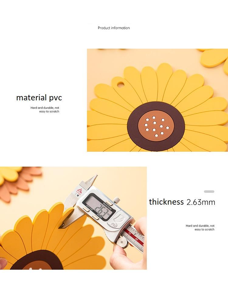 Coaster แผ่นรองแก้ว PVC กันความร้อนไซค์เล็ก 10cm สีเหลือง  JR0420-51