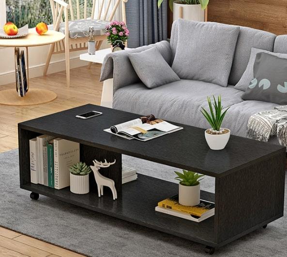 Coffee table โต๊ะกลางมีล้อ 100x40x38cm สีดำ 01-BLACK