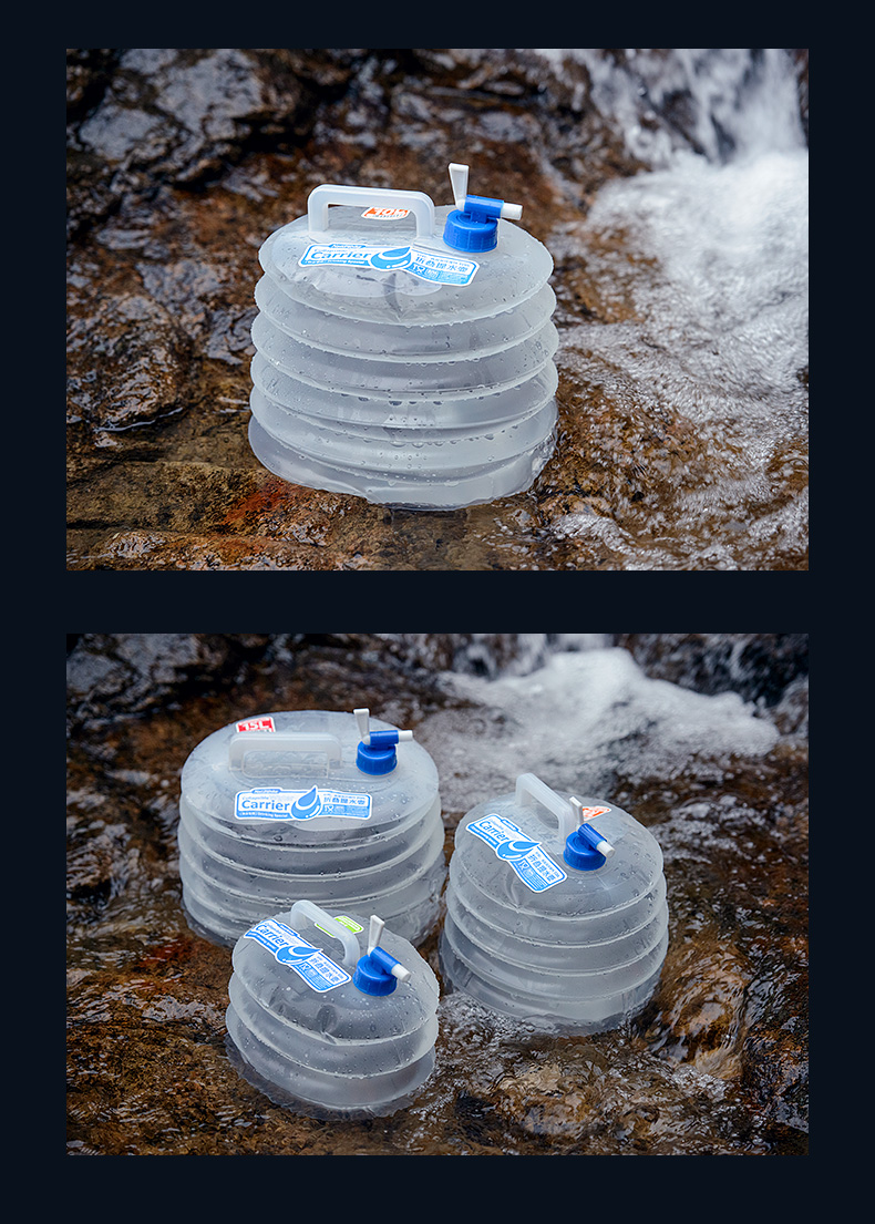 Collapsible water container ถังน้ำพลาสติกพับได้ 10 ลิตร แบบพกพา สำหรับแคมป์ปิ้ง รุ่น ST210512-9
