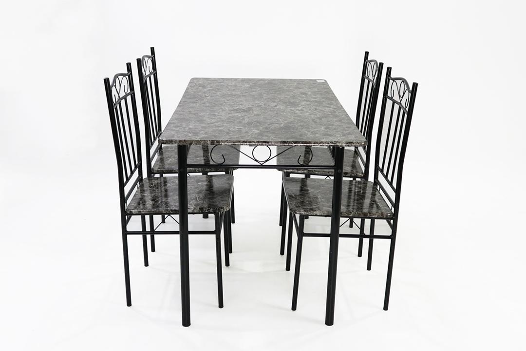 Dining Table ชุดโต๊ะอาหารขนาด 120x70x74 ซม.ลาย Green Marble พร้อมเก้าอี้ 4 ตัว รุ่น DSF-024G