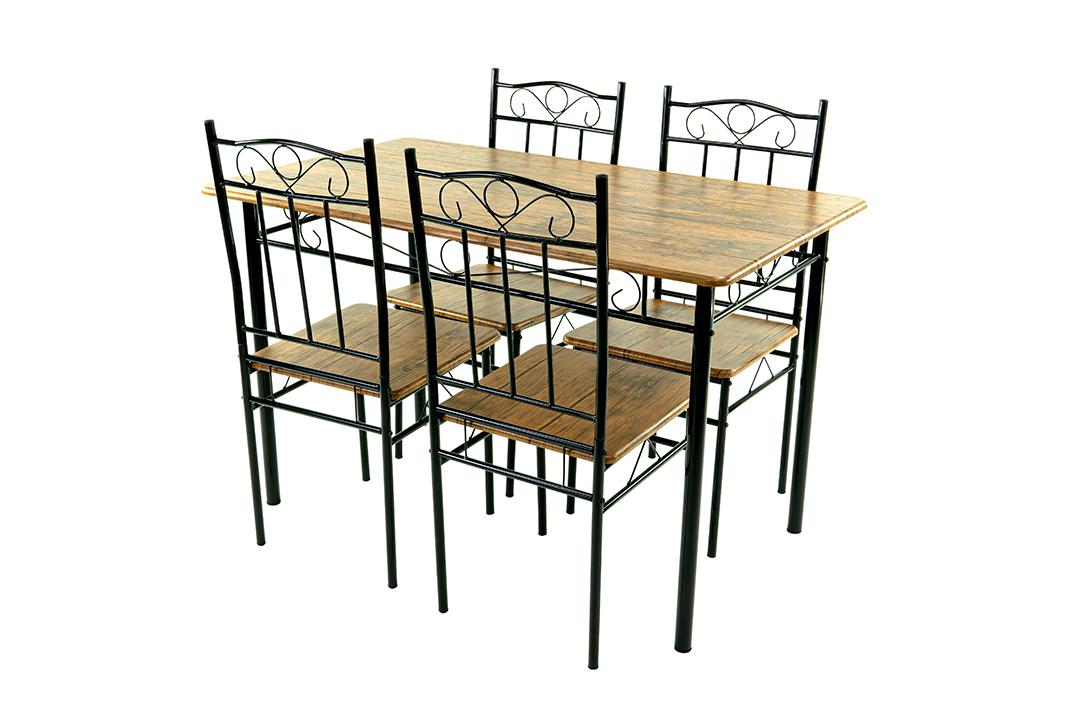 Dining Table ชุดโต๊ะอาหารขนาด 120x70x74 ซม.ลายไม้Cherry พร้อมเก้าอี้ 4 ตัว รุ่น DSF-024C