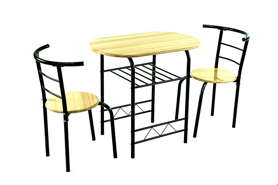 Dining Table ชุดโต๊ะอาหารขนาด 53x80x74 ซม.ลายไม้ Beech พร้อมเก้าอี้ 2 ตัว รุ่น DS-811P