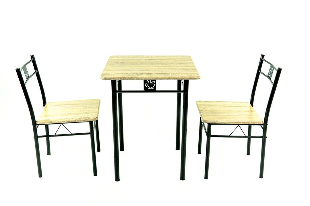 Dining Table ชุดโต๊ะอาหารขนาด 60x60x74 ซม.ลายไม้ 3D Gray พร้อมเก้าอี้ 2 ตัว รุ่น DS-813P