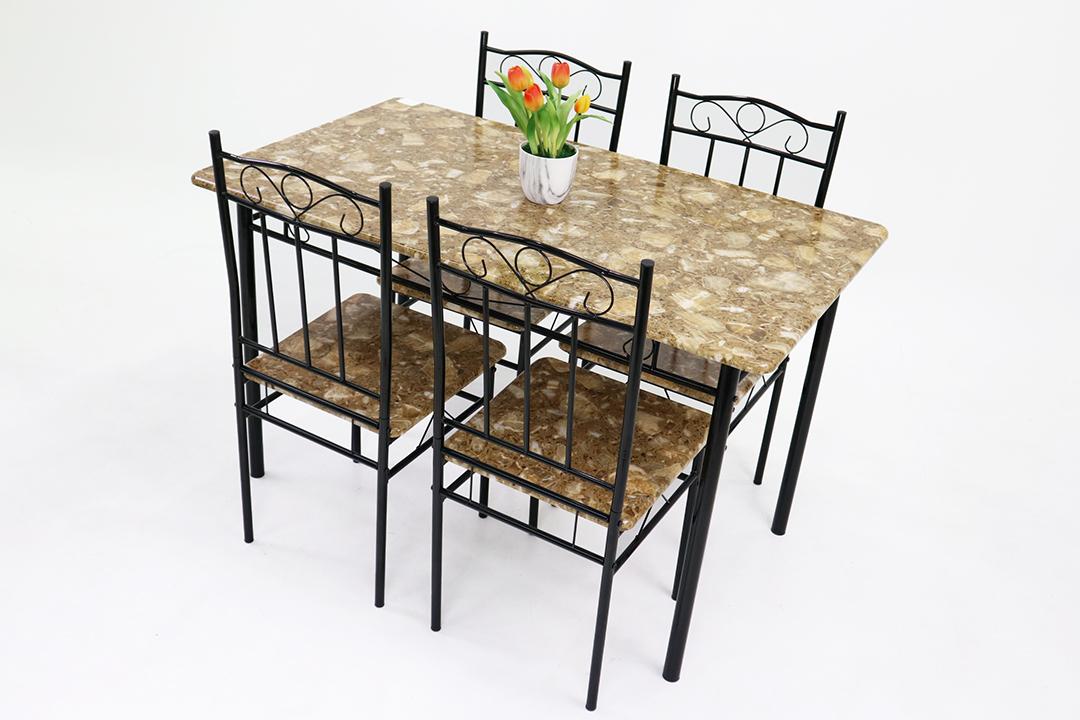Dining Table ชุดโต๊ะอาหารขนาด 120x70x74 ซม.ลาย Black Marble พร้อมเก้าอี้ 4 ตัว รุ่น DSF-024B