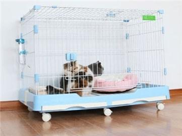 Dog cage กรงสุนัข มีถาดรองและล้อเคลื่อนที่ได้ 48x73x55cm สีฟ้า BLUE RT1908133