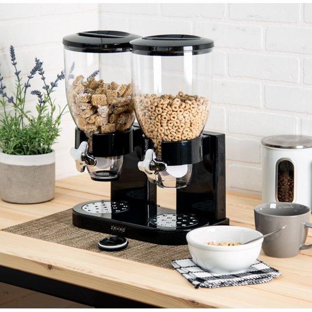 Double cereal dispenser เครื่องจ่ายซีเรียลหัวคู่ 1000ml 20x31x48cm สีดำ Sen-32
