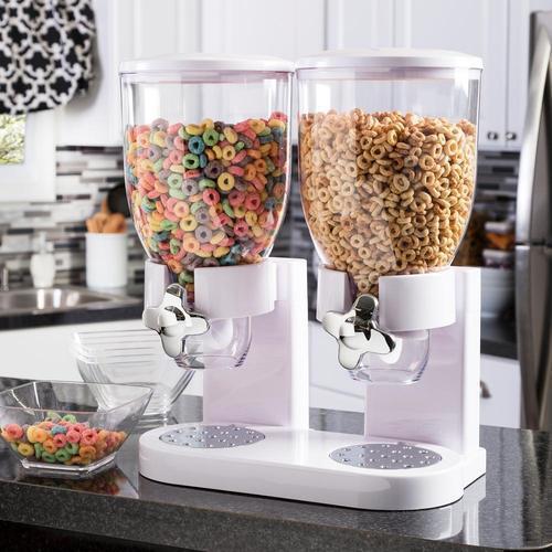 Double cereal dispenser เครื่องจ่ายซีเรียลหัวคู่ 1000ml 20x31x48cm สีขาว MX-12-W
