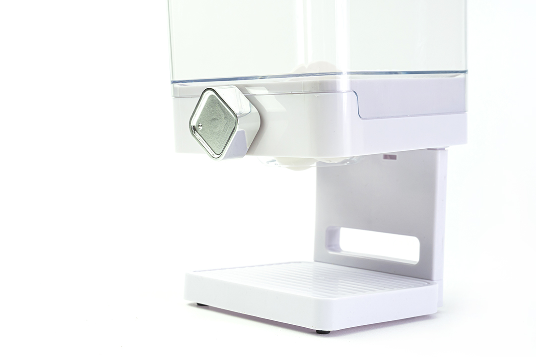 Dry food dispenser เครื่องจ่ายซีเรียลหัวคู่ 1000ml 17x33x24cm สีขาว 1S18-W
