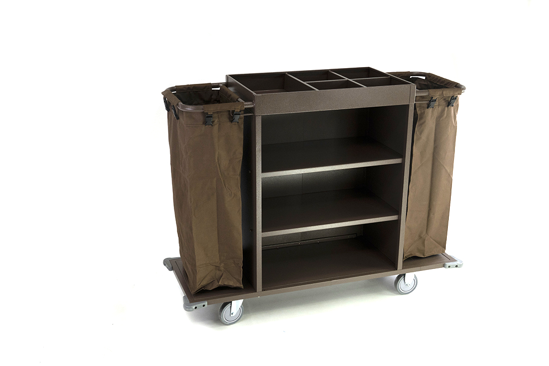 Housekeeping cart รถเข็นแม่บ้าน แบบมีชั้นวางตรงกลาง ขนาด 140x50x120ซม. รุ่น D-021