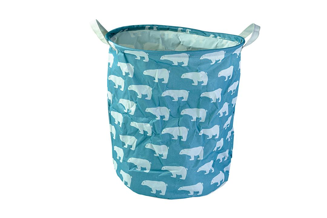 Laundry Basket ถุงผ้าเก็บของ พับได้ 30x36x5cm สีฟ้า