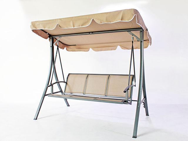 Outdoor Garden Swing เก้าอี้ชิงช้าแบบ 3 คนนั่ง สีเบจ 114x195x158cm TNC TC-SW021