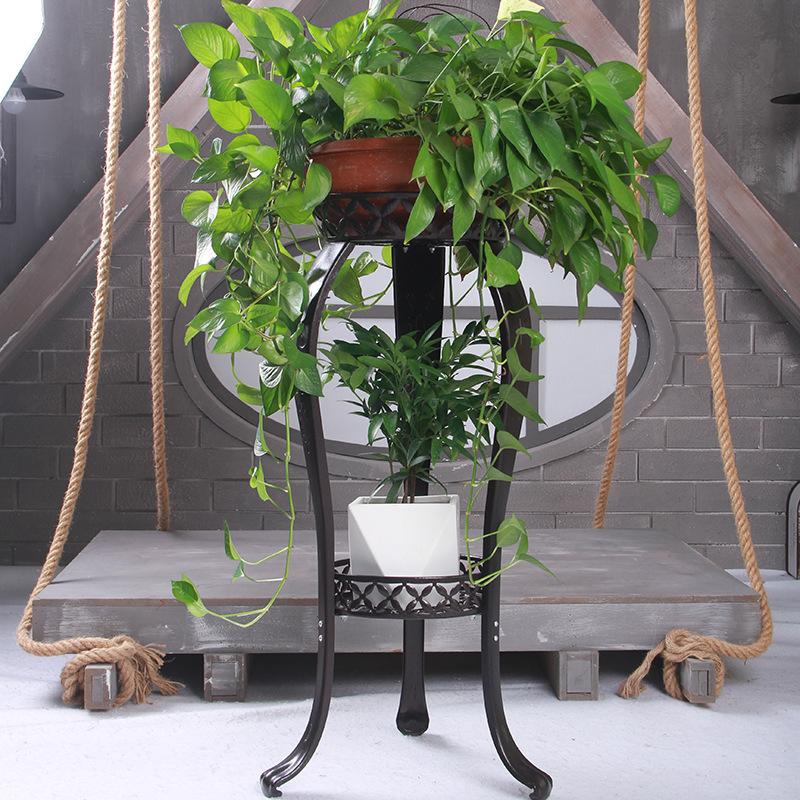 Plant display stand ชั้นวางกระถางดอกไม้เหล็กแบบ 2 ชั้น สีบรอนซ์ รุ่น ST0531-24BR