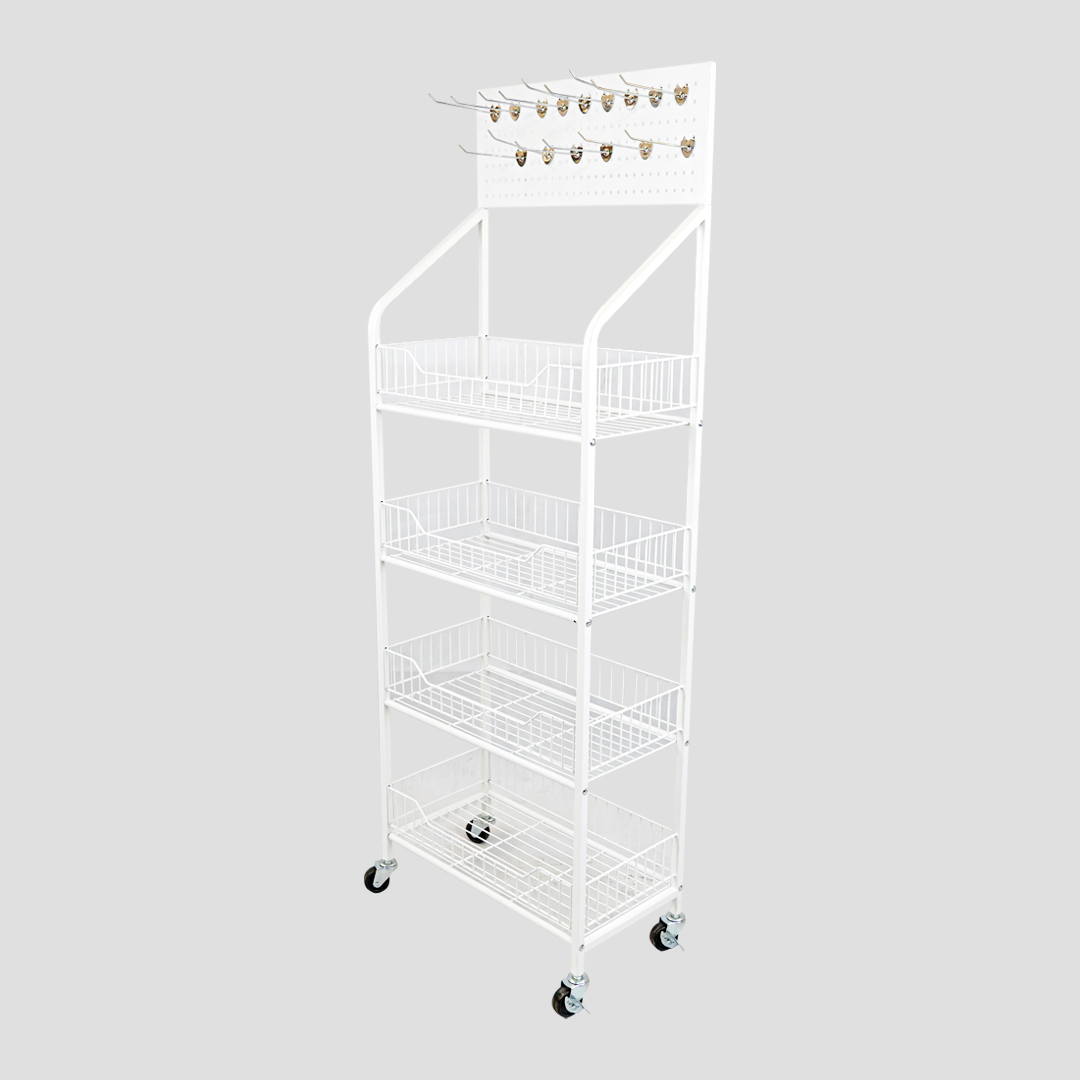 Shelf ชั้นตะแกรงใส่ของมีล้อ สีขาว 27x50x140-147cm ST201015-26
