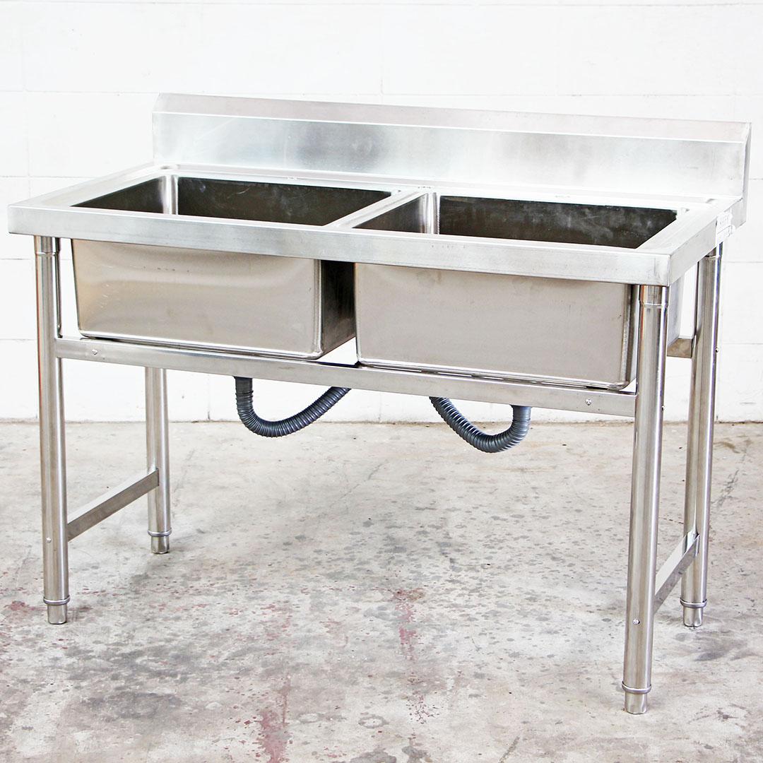 Stainless Steel Double Bowl Sink ซิ้งค์สแตนเลส 2 หลุม 120x60x80cm RT05237