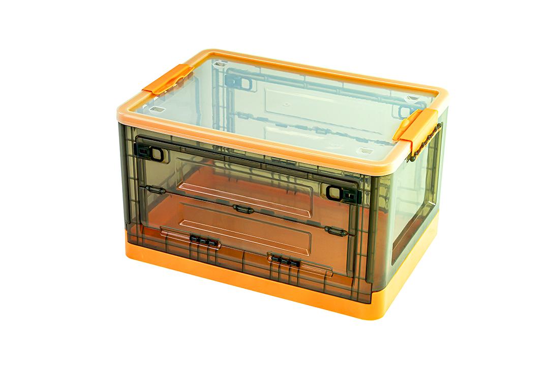 Storage box กล่องเก็บของพับได้ มีฝาปิด ขนาด 36x50x29cm สีส้ม รุ่น ST210507-12OR