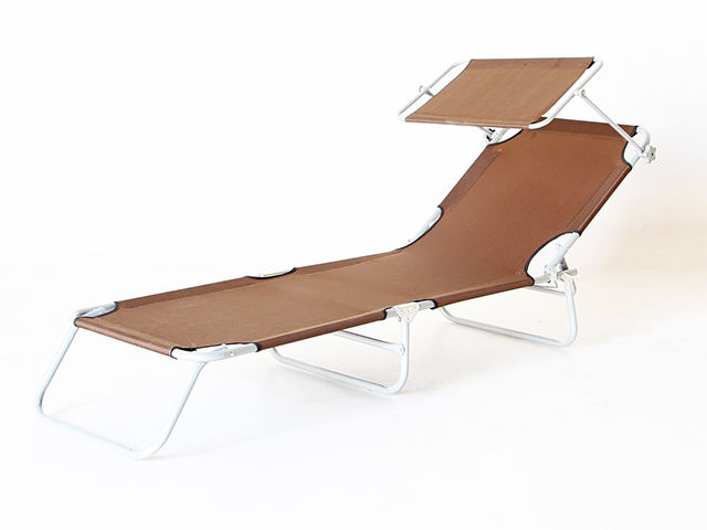 Sunbed with Shade เก้าอี้นอน พับได้ มีที่บังแดด 190x55x25cm RT181120-7 BROWN