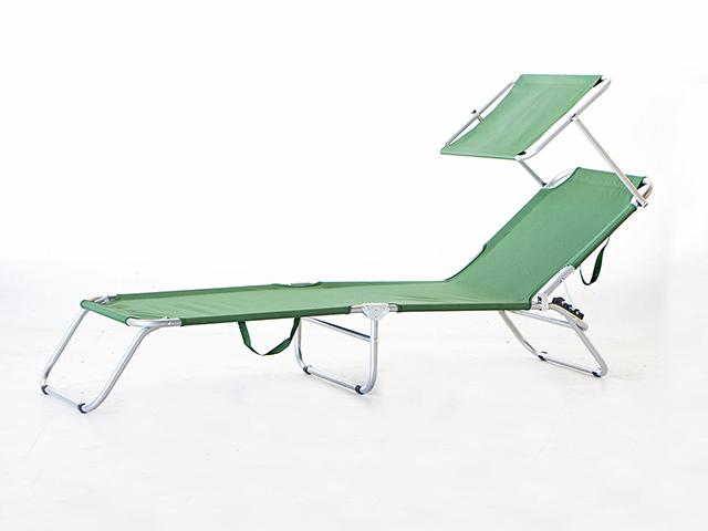Sunbed with Shade เก้าอี้นอน พับได้ มีที่บังแดด 190x55x25cm RT181120-7 GREEN
