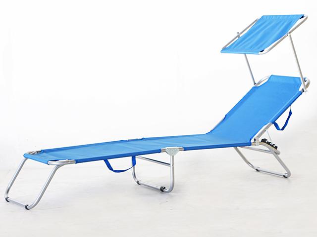 Sunbed with Shade เก้าอี้นอน พับได้ มีที่บังแดด 190x55x25cm RT181120-7 BLUE