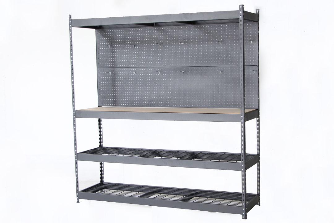 Table Shelf with Pegboard โต๊ะชั้นวางของมีแผงแขวน 183x41x183cm BES9711