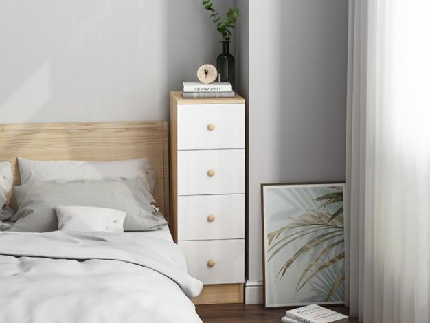Wood Cabinet ตู้ไม้เก็บของ4ชั้น ตู้ข้างเตียง ตู้ลิ้นชัก 20x36x72cm RR12